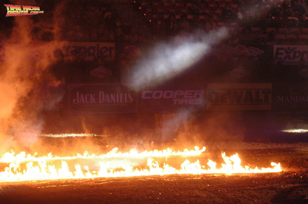 Rent the DeLorean Time Machine and your event could feature flaming fire trails just like we show in this photo.