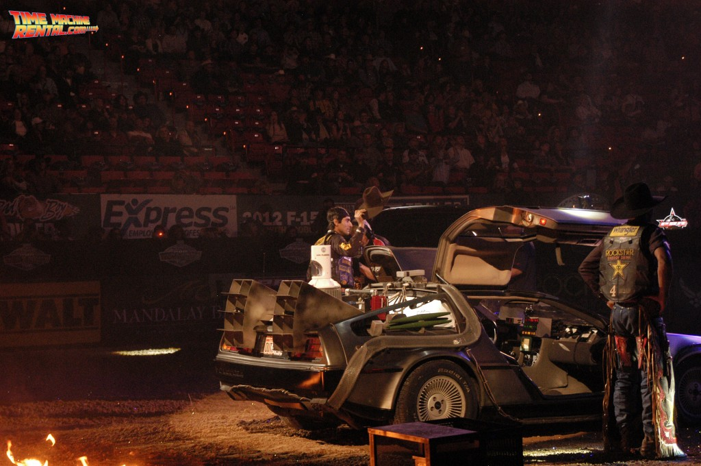 DeLorean Time Machine rental driver Silvano Alves expertly drives the Back to the Future temporal displacement vehicle at the Professional Bull Riders Championship in Las Vegas, Nevada.