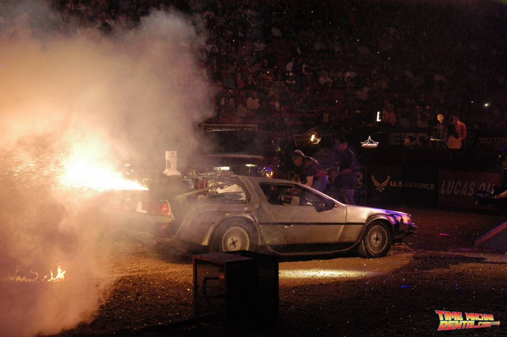 Our DeLorean rental has participated in amazing pyrotechnic events! The Professional Bull Riders championship pyro team shot long flames from out of our temporal exhaust vents in this picture!