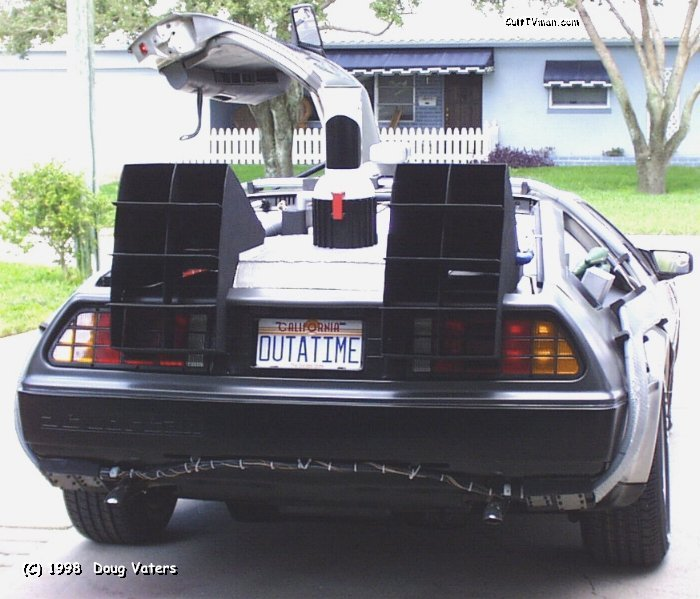 Rear shot of the car with a nifty OUTATIME plate that was built from a Universal Studios Florida consumer license plate.