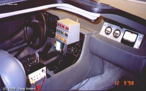 Components built by Vaters and Bruce Coulombe in the cabin of the car. A grep dash carpet hid the damaged binacle and dashboard that had languished in the Arizona sun years before.